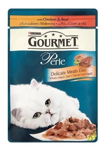 bd1bdea5a47aa2 GOURMET PERLE karma dla kota z kurczakiem i wołowiną w sosie, saszetka 85g